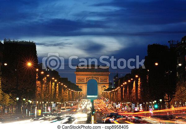 Arc de Triomphe, Paris, France - csp8958405