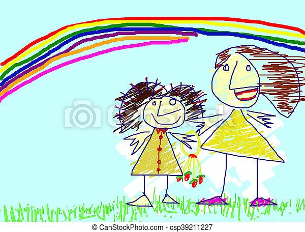 Arc En Ciel Amour Enfant Peinture Mère Dessin