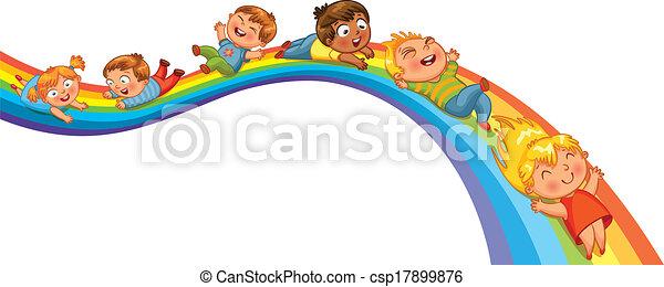arc-en-ciel, cavalcade, enfants - csp17899876