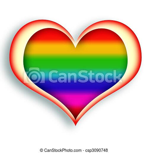 Arc En Ciel Coeur Coeur Sur Multicolore Incandescent Fond Blanc Symbole Canstock