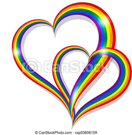 Arc En Ciel Coeur Symbole Deux Communauté Lgbt Forme Fierté