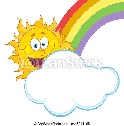 arc-en-ciel, nuage, soleil - csp5914165