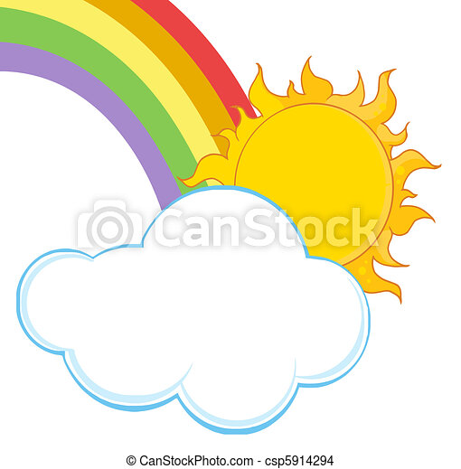 arc-en-ciel, nuage, soleil - csp5914294