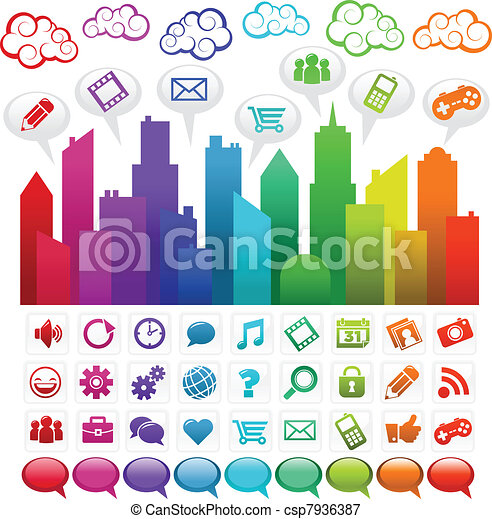 arc-en-ciel, social, ville, média - csp7936387