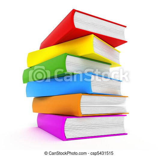 arc-en-ciel, sur, livres, blanc - csp5431515