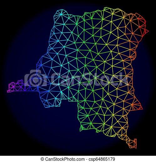 arc-en-ciel, vecteur, carcasse, polygonal, carte, maille, république, congo, démocratique - csp64865179