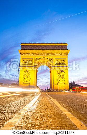 Arc of Triomphe Champs Elysees Paris - csp20811283