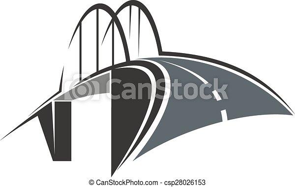arc pont, route, icône - csp28026153