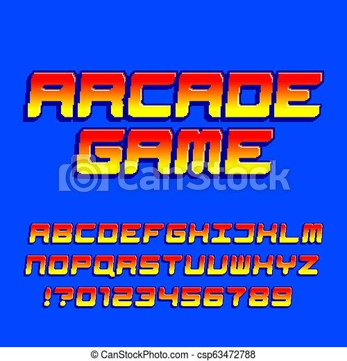Arcade computer game alphabet font  Pixel gradient oblique letters and  numbers