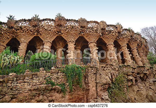 Arcade of stone columns, Park Guell - csp6437276