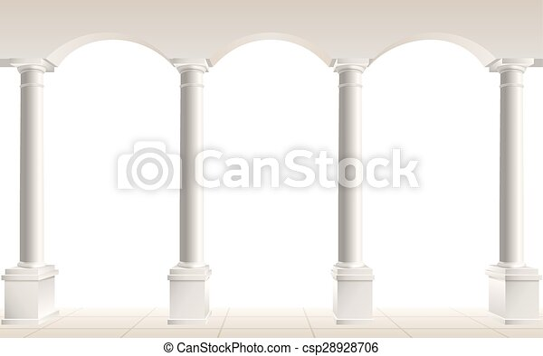 arch and columns on white - csp28928706