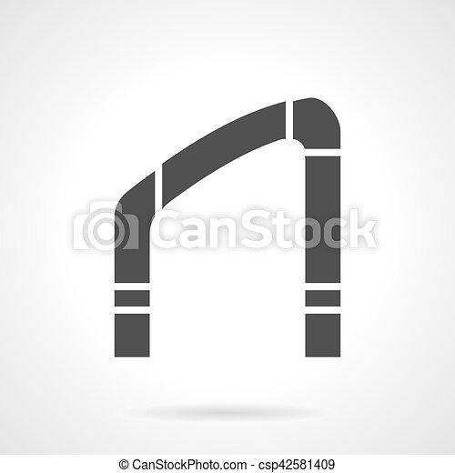 Arch for stairs glyph style vector icon. Silhouette of oblique arch ...