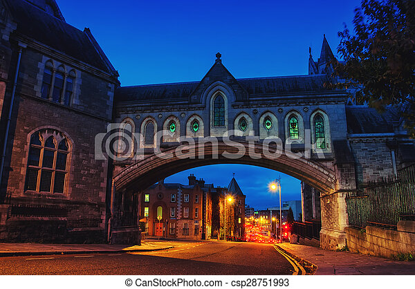 Arch of the Christ Church Cathedral in Dublin, Ireland - csp28751993