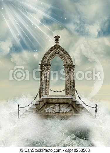 arch with stairway in the sea - csp10253568