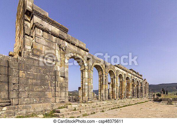 Archaeological Site of Volubilis, ancient Roman empire city, Unesco World Heritage Site, located in Morocco near Meknes