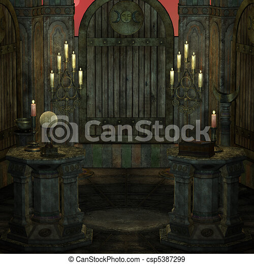 archaic altar or sanctum in a fantasy setting. 3D rendering of a fantasy theme. ideal for background usage. - csp5387299