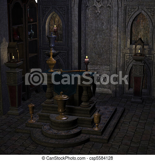 archaic altar or sanctum in a fantasy setting. 3D rendering of a fantasy theme. ideal for background usage. - csp5584128