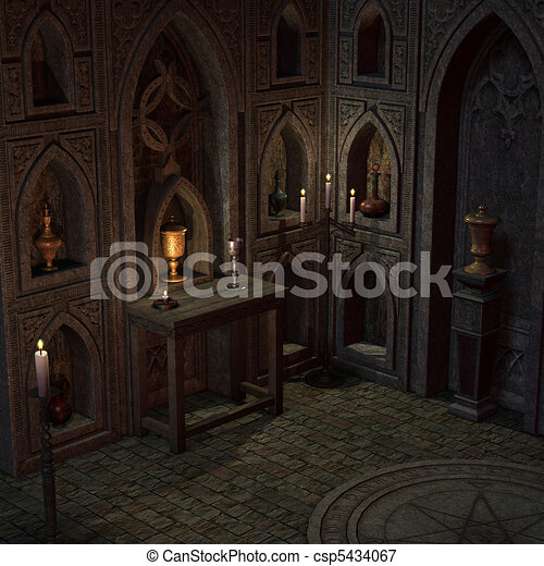 archaic altar or sanctum in a fantasy setting. 3D rendering of a fantasy theme. ideal for background usage. - csp5434067