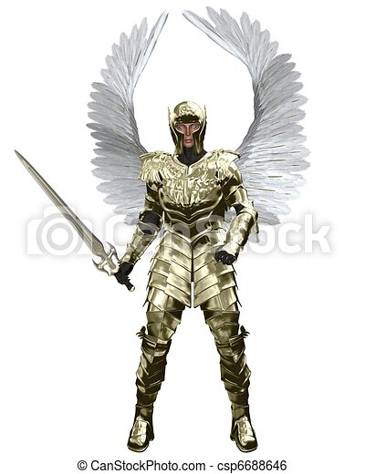 Archangel Michael in Golden Armour - csp6688646