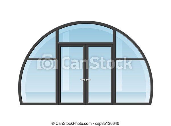 Open Arched Double Doors To Arched Window And Door Csp35136640 Door Double Doors Open Onto Terrace Or Balcony