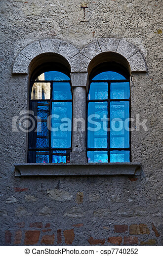 Arched Windows Turquoise Reflection - csp7740252