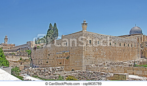 Archeological park at old city in Jerusalem - csp9635789
