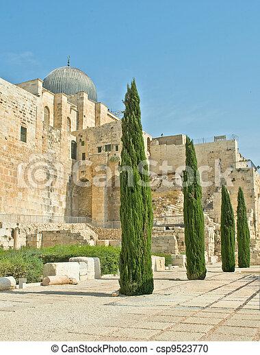 Archeological park at old city in Jerusalem - csp9523770