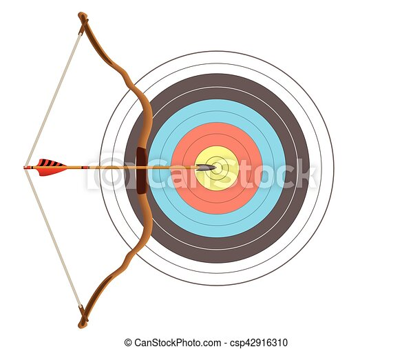 archery bow and arrow with target - csp42916310