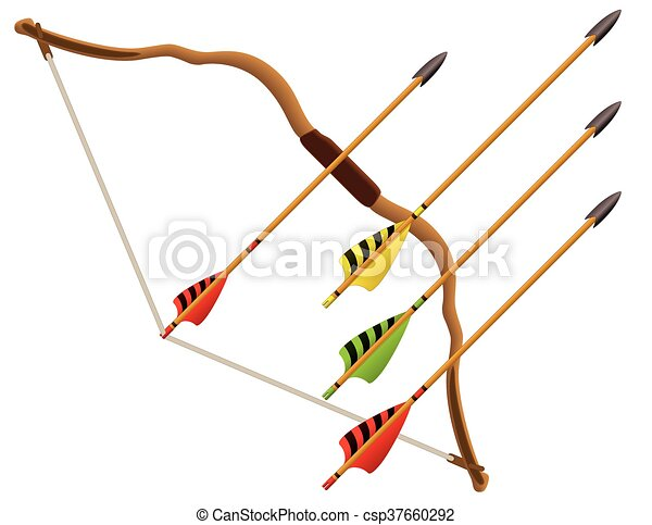 archery bow and arrows - csp37660292
