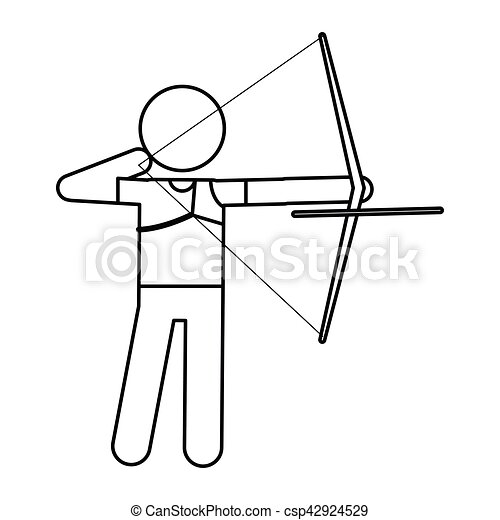 archery player aiming bow game outline vector illustration bow and arrow clip art black white bow and arrow clip art silhouette