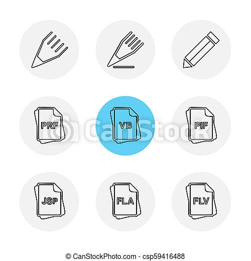 archief, documenten, set, iconen, eps, vector, bestand, type - csp59416488