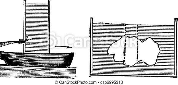 Archimedes principle vintage engraving - csp6995313