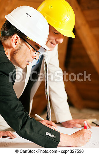 Architect and construction engineer discussing plan - csp4327538