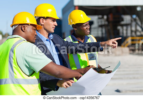architect and construction workers - csp14356767