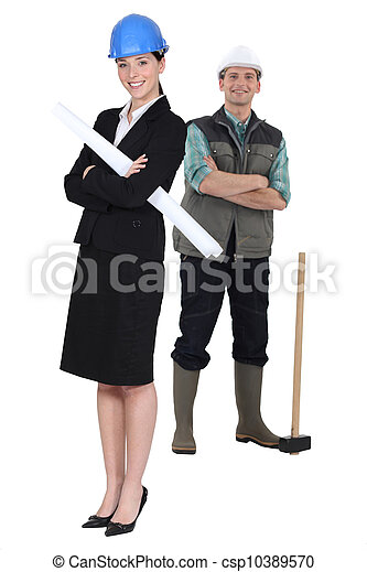 Architect and foreman stood with arms folded - csp10389570