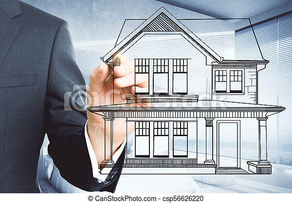 Businessman Hand Drawing Creative House Blueprint On Blurry Office Interior Background Architect And Project Concept
