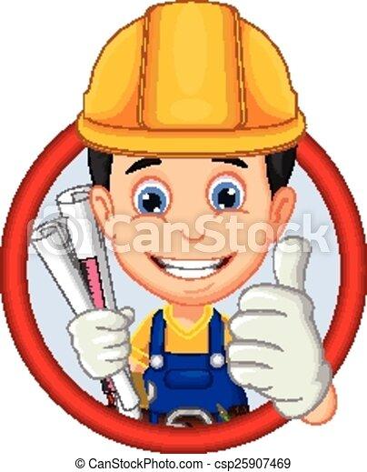 architect cartoon thumb up - csp25907469