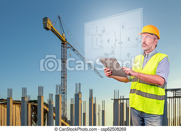 architect displaying a house project - csp62508269