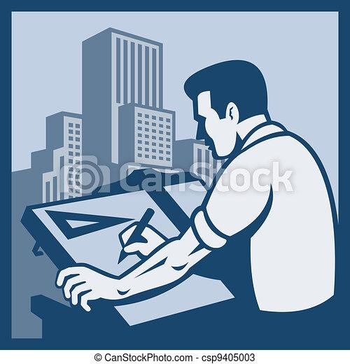 Architect Draftsman Drawing Buildings Retro - csp9405003