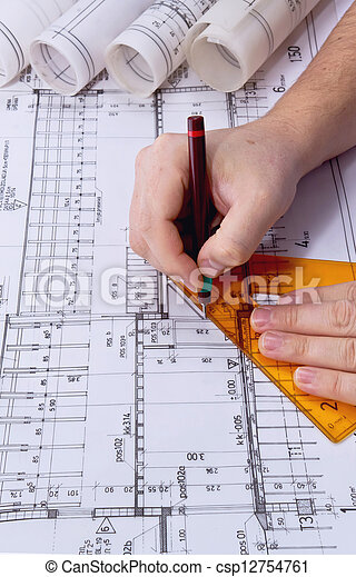 Architect drawing rolls and plans blueprints project architect drawing rolls and plans csp12754761 malvernweather Images