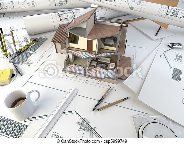 architect drawing table with section model - csp5999749