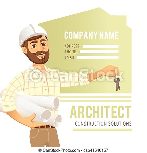 Architect in helmet with blueprints and keys in hand against background of constructed house, cottage. Character Construction Engineer. Concept for banner, business card. - csp41640157