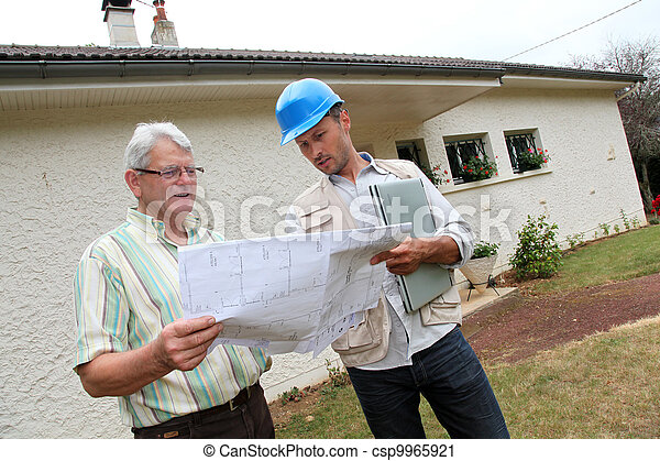 Architect meeting private individual at home - csp9965921
