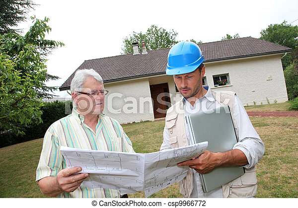 Architect meeting private individual at home - csp9966772