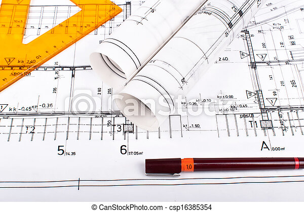Architect rolls and plans - csp16385354