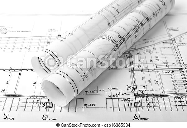 Architect rolls and plans - csp16385334