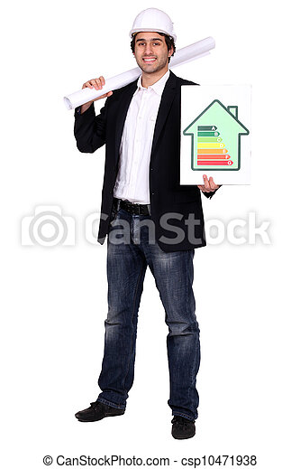 Architect stood with energy rating poster - csp10471938