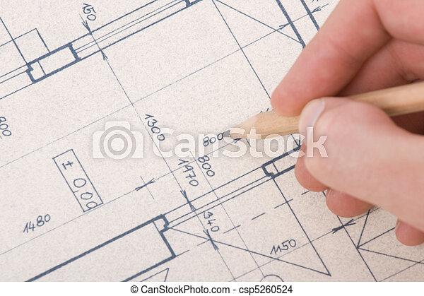 Architect with blueprint - csp5260524