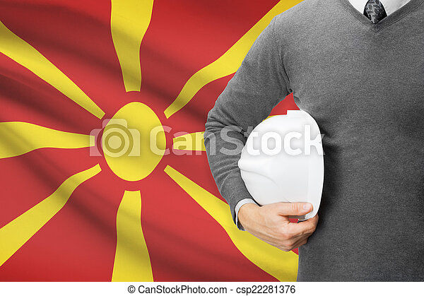 Architect with flag on background - Republic of Macedonia - csp22281376