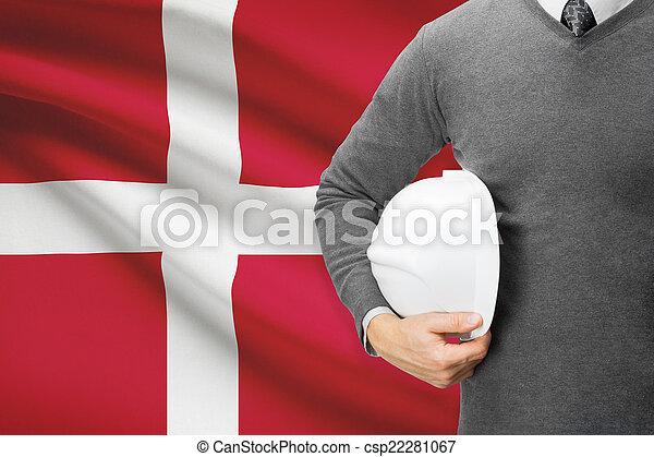 Architect with flag on background - Denmark - csp22281067